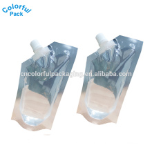 2016 special shape plastic drink bag for juice custom spout pouch 8oz/12oz/16oz stand up bag with spout