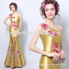 Traditional Fornal Evening Dresses Golden Yellow Handmade Embroidered Mermaid Formal Party Dress One shoulder