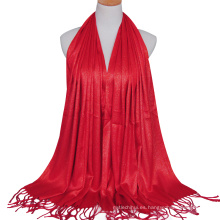 2017 señora de la moda de algodón de color sólido llanura elegante oro alambre gilter hijab musulmán bufanda dubai con borlas