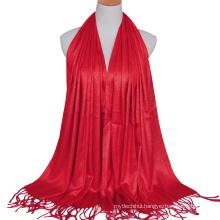 2017 Fashion lady cotton solid color plain stylish gold wire gilter muslim hijab scarf dubai with tassels