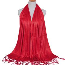 2017 мода дамы хлопок сплошной цвет простой стильный золотой проволоки гилтер Дубай мусульманский хиджаб шарф с кистями