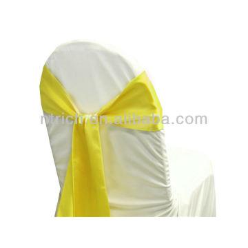 marco de la silla del satén vogue amarillo, lujo corbata, pajarita, nudo, cubiertas de la silla baratos boda y fajas para la venta