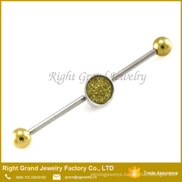 316L Surgical Steel Removable Sparkle Charm Industrial Piercing Barbell