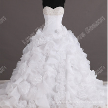 LS0116 Designer beautiful bead crystals ball gown organza flower bottom wedding dress wedding dress long tail bridal gowns real