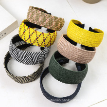 Bandeau fascia per capelli Straw Braid Wide Designer Knot Headband for Women Girl Fashion Hair Accessories Handmade Hairband