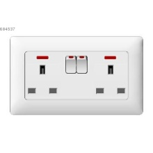 two gang 13A  BS socket with neon light