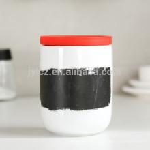 recipiente de café de té de cerámica con tapa de silicona,