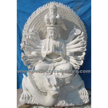 Stein Marmor Buddha Statue Kwan Yin für Feng Shui (SY-T142)