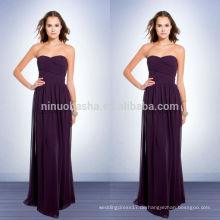 Lila Farbige Muster für Brautjungfern Kleider 2014 Lange Chiffon Mantel Prom Kleid mit Schatz Ausschnitt Ruched Mieder NB0734
