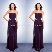 Purple Colored Patterns For Bridesmaids Dresses 2014 Long Chiffon Sheath Prom Gown With Sweetheart Neckline Ruched Bodice NB0734