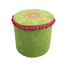 India and Pakistan style green circular cylinder stool