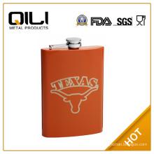 18/8 FDA Burnt Orange 8oz Painted Hip Flask