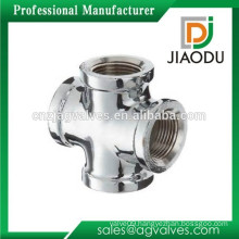 Custom Made 1 2 3 4 inch DN15 20 chrome plated High quality Bathroom copper fittings connector 4 (four) way cross pipe fittings