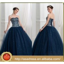 ASQ06 Cheap Ball Gown Beads Stones Navy Blue prom dress 2017 Quinceanera Dress