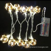 Christmas light LED string with crystal global cover, operated 2AA battery