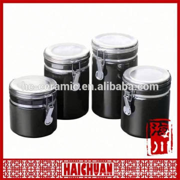 3 size porcelain canister wood lid