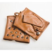 Lady Fashion Brown Schaffell Leder fingerlose Fahrhandschuhe (YKY5076-1)