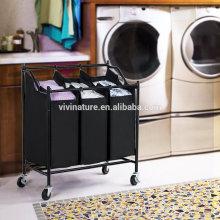 4 To3Bag Rolling Laundry Sorter Carrinho Heavy Duty Classificação Hamper Com Sacos Removíveis e Freio Rodízios