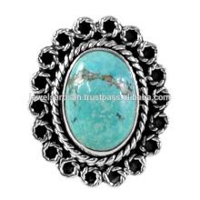 Тибетский Бирюзовый Драгоценных Камней 925 Серебряное Кольцо Ювелирных Изделий
