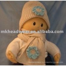 Conjunto de bufanda de sombrero de punto de chunky bebé