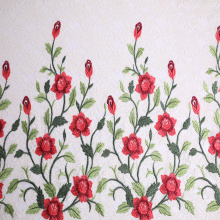 Novo design Rose Embroidery On Lace Mesh