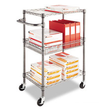 Library Push Metal Cart Rack for Book and Magazine (BK753590A2CW)