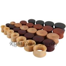 Túneles y tapones para los oídos de madera Natural Color marrón