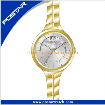 Ladies Fashion Quartz Watch with Stainless Steel Band