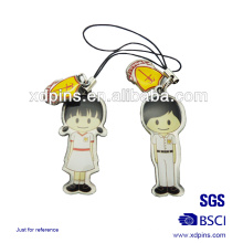 Customized Promotion Metal Printing Couple Phone Strap