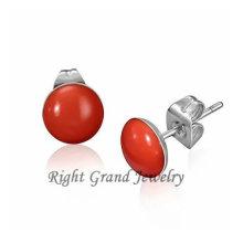 Pendientes de acero quirúrgico de epoxy rojo de 10 mm con joyas únicas