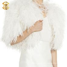 Новый стиль вязать моды Подлинная пера меховой пончо для девочки