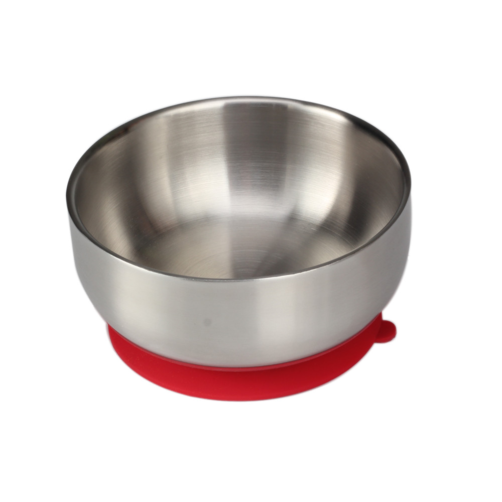 Wholesale Baby Feeding Stainless Steel Bowl With Airtight Red Silicone Base