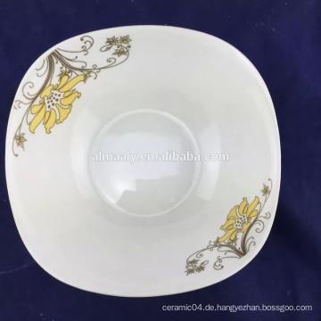 7-Zoll-feine Porzellan Salatschüssel quadratische Form