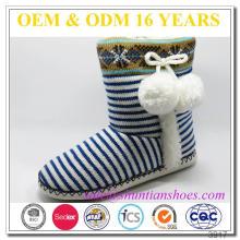 Mais recente design de riscas indoor botas de malha de pele tricotado para meninas