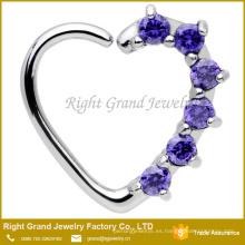 16 calibre Corazón Púrpura Cierre a la Izquierda Daith Prong Set Cubic Zirconia Cartílago Tragus Pendiente