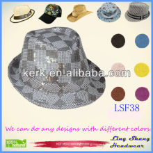 LSF38 Ningbo Lingshang 2014 Newest Factory Price Shining Sequins Cotton/Polyester Fashion Bucket Hat