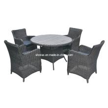 Jardim exterior mobília do Rattan vime cadeira pátio jantando o jogo