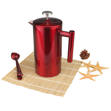 Elegant Red Stainless Steel French Press Coffee Maker