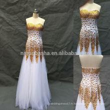 Luxe robe de mariée A-Line blanche avec beaucoup de cristal Accent 2014 Image réelle Sweetheart Robe de mariée en tulle de niveau Floor NB0505