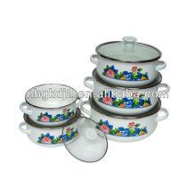 enamel casserole set 673DG with glass lid
