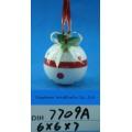 Bola de boneco de neve cerâmica pintada à mão para decoração de árvore de natal