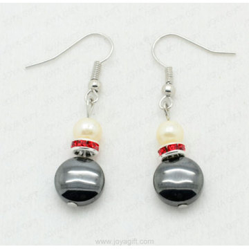 Hematite disc beads earring