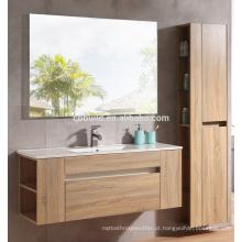 Moderna impermeável em parede, melamina, acabamento, banheiro, banheiro, vaidade, lado, armário