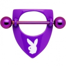 Playboy Purple Titanium Rabbit Head Shield Nipple Ring