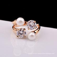 Fantasy vergoldeten Schmuck Zubehör Perle und Diamant Öffnungen Verlobungsring