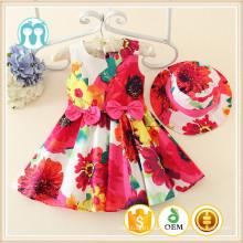 El último vestido 2015 del bebé del vestido ocasional de las muchachas pequeñas por 1-5 años, vestidos al por mayor de los cabritos, embroma las prendas florales coloridas