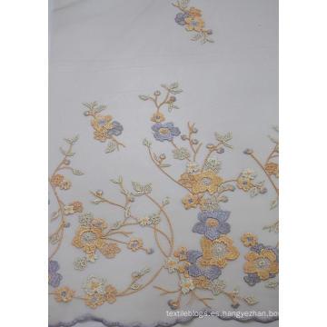 Tela de malla de bordado de diseño de moda 100% poliéster