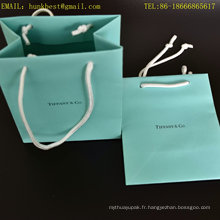 Nouveaux sacs en papier bruns unis avec poignées avec marquage à chaud noir et coton Hadle