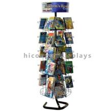 Loja de papelaria Suporte de rack de arame Custom Freestanding Merchandising Kids Card Comic Book Display Rack