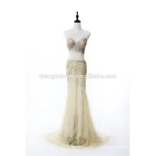 Nouveau style Voir bien la robe de soirée Robe de soirée en cristal Beading Sexy Lace Long Robe formelle